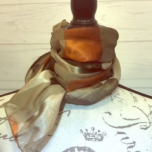 Silver, Rust, Brown, Dark Gray Scarf